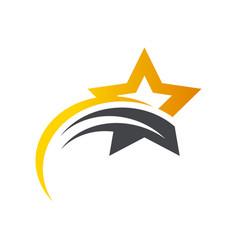 gold star swoosh logo icon vector image vector image