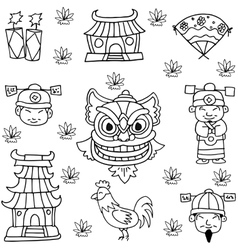 Hand draw element chinese new year vector