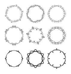hand drawn circle vignette frames set isolated vector image vector image