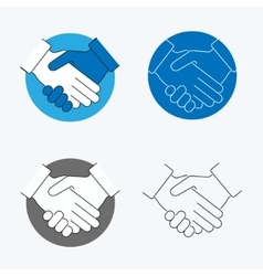 Handshake thin line icon set vector