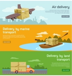 Logistic concept flat banners set of maritime rail vector image vector image