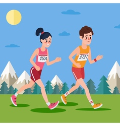 Marathon Runners Man and Woman Running vector image