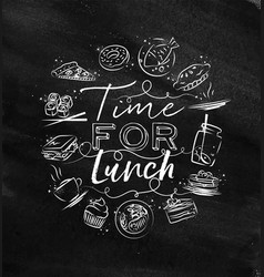 Monogram time for lunch chalk vector
