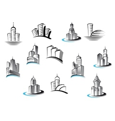 Office telecommunication and residential buildings vector
