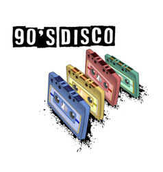 Old-fashioned tape audio cassette symbol of retro vector