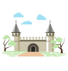 Path to small ancient brick castle with two towers vector