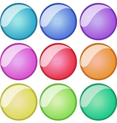 Round badges in nine colors vector
