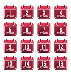 September flat calendar icons Days Of Year Set 23 vector image vector image