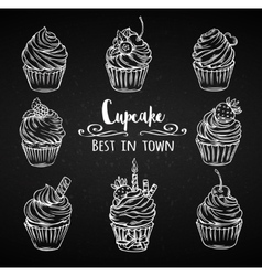 Set decorative hand drawn cupcakes vector