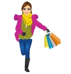 shopping woman with gift bag running joyful vector image vector image