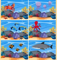 six underwater scenes with sea animals vector image vector image