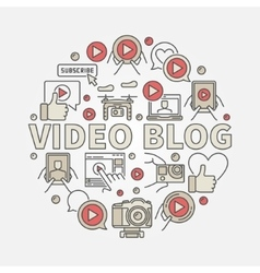 Video blog round vector