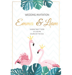 Wedding invitation flamingo birds crown king queen vector