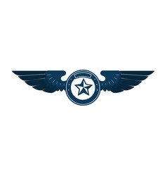 wings emblem with star vector image