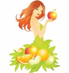 Woman apple vector