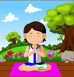 young girl doing yoga vector image