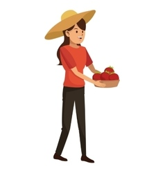 Young girl hat and basket tomato harvest vector