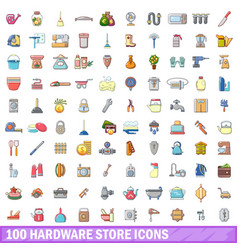 100 hardware store icons set cartoon style vector