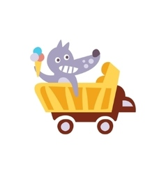Wolf riding a wagon holding ice-cream stylized vector