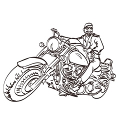 Biker on the freedom trip an hand drawn vector