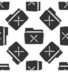 Crossed fork over knife grey folder icon seamless vector image