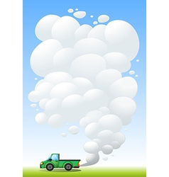 A green cargo with smoke at the back vector