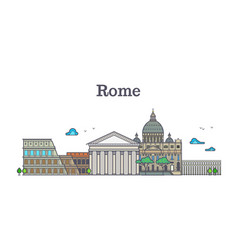 Line art rome architecture italy buildings vector