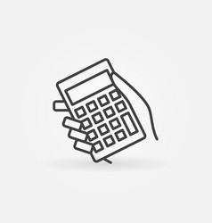 Calculator in hand icon vector