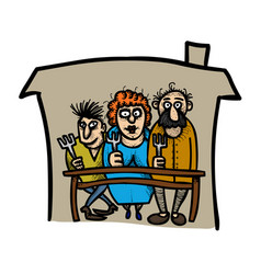 cartoon image of family icon family at house vector image