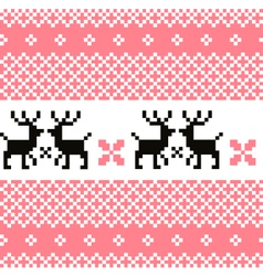Norway pattern with reindeer - pink and white vector