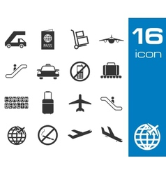 Black airport icons set on white background vector