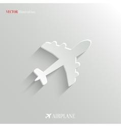 Airplane icon - white app button vector