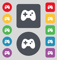 Joystick icon sign a set of 12 colored buttons vector