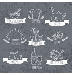 Hand drawn food and drinks labels doodle emblems vector