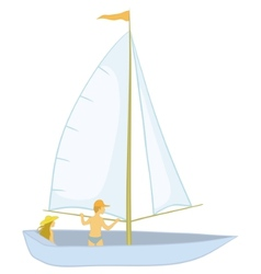 Sailing boat with a people vector