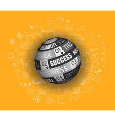 Success in business concept with doodle design vector