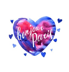 Bonjour paris card with watercolor hearts vector