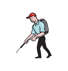 Pest control exterminator spraying cartoon vector