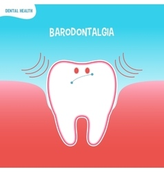 Cartoon bad tooth icon with baradontalgia vector