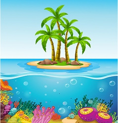 A beautiful island in the middle of the sea vector