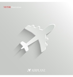 Airplane icon - white app button vector image vector image