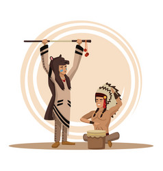 american indians cartoon vector image vector image