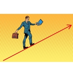Businessman acrobat walking the wire graphics vector