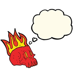 Cartoon flaming skull with thought bubble vector