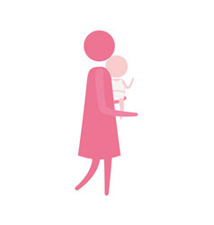 color pink silhouette pictogram side view woman vector image