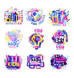 Creative kids set of colorful logo graphic vector