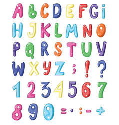 Cute cartoon english coloured alphabet and set of vector