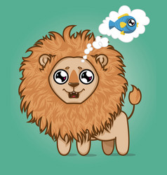 Cute hungry lion cartoon animal vector