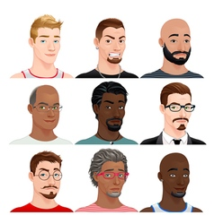 Different male avatars vector image vector image