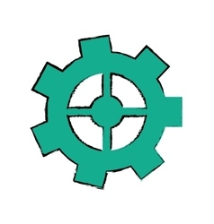 Drawing gear wheel engine cog icon vector